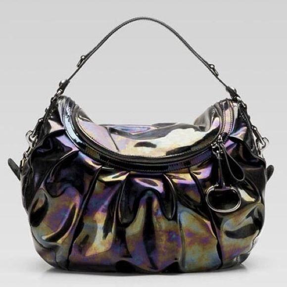 c4e49a940ed Gucci Handbags - Gucci Icon Bit Black Oil Slick Patent Leather Bag