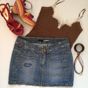 MISS SIXTY  DISTRESSED DENIM MINISKIRT