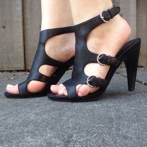 Nine West Shoes - Black Leather 'Sulliban' Heels by Nine West