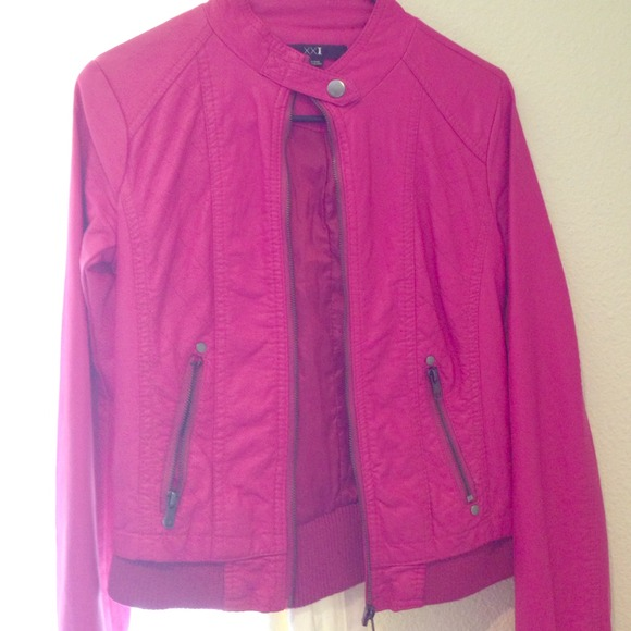 50% off Forever 21 Jackets & Blazers - Hot Pink Leather Jacket ...