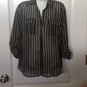 Tops - Striped black and olive green shirt
