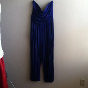 Royal blue Strapless jumpsuit