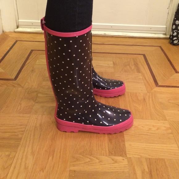 88% off J. Crew Boots - J. Crew Navy   Pink Polka Dot Rain Boots ...