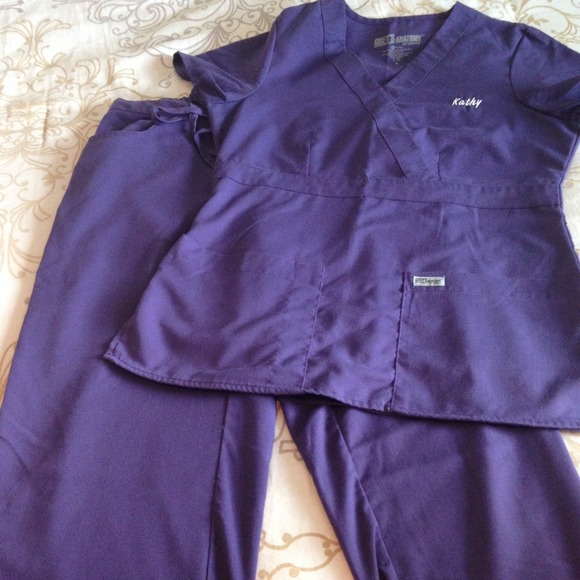 Tops | Purple Greys Anatomy Scrub Set | Poshmark