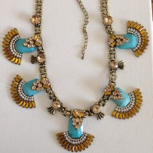 Jeweled fan turquoise statement necklace crystals