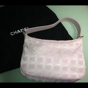 iridescent baby pink fabric chanel travel line bag