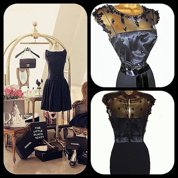 Phase Eight Dresses Black Satin Chiffon Beaded Dress Poshmark