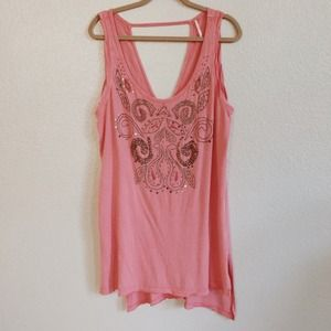 Free People Tops - Free People Beaded Tunic Tank