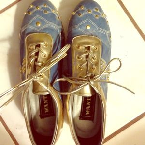 Wanted Shoes - Denim, gold patent leather shoes w/ gold studs