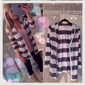 sweet romeo Sweaters - Grey and white striped hooded open front cardigan