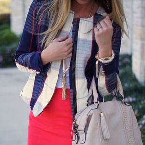Jackets & Blazers - Merona blue red & cream zipper jacket