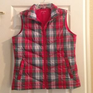 Jackets & Blazers - Lands End Tartan quilted puffer vest