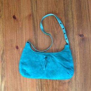 SMALL BOHO TURQUOISE SUEDE BAG FOR GOING OUT