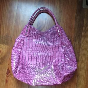 XTRA LG MAGENTA FAUX CROC BAG FROM BOUTIQUE NICE