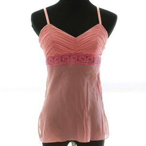 BEBE pink and peach beaded & embroidered silk tank