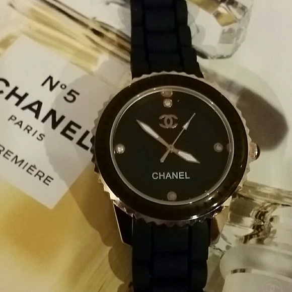bf4ded0760 Jewelry | Black Cc Watch Rose Gold Trim Chanel Inspired New | Poshmark