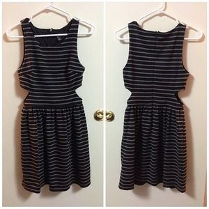 Dresses & Skirts - Stripe knit cut out skater dress
