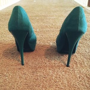 Charlotte Russe Shoes - Teal Suede Pumps