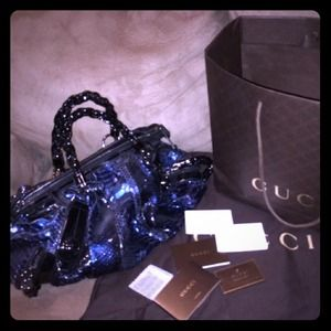 Rare limited edition Gucci blue/black python bag
