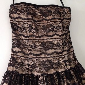 Cocktail dress black lace and beige,REDUCED!