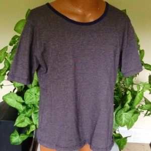 Blue short sleeved top.