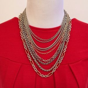 David Yurman Sterling 18K Multi Chain Bib Necklace