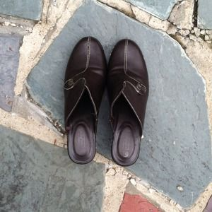 Dark Brown Leather Mules/Clogs