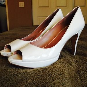 Vince Camuto White Patent Leather Heels