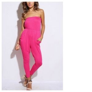 Other - SALE Strapless Orchid Pink Jumpsuit + Pockets