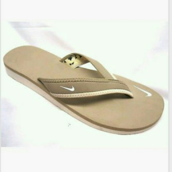 49 Off Nike Shoes - Sold Nike Celso Tan White Flip Flops -5626