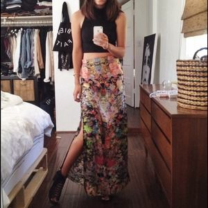 ASOS Maxi Skirt in Floral Digital Print Size 4