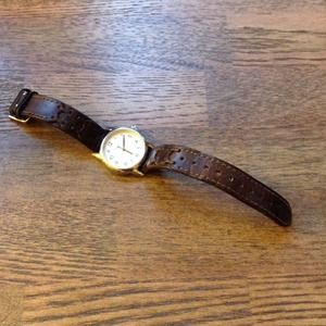 Timex brown leather watch with braided pattern