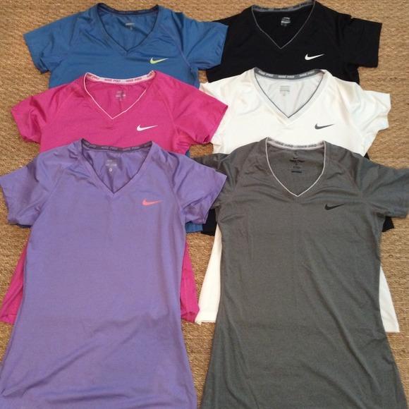 6 Women s Nike Pro fitted dri-fit shirts. M 5390fa2e0b47d339d008632a 47e039d7bd