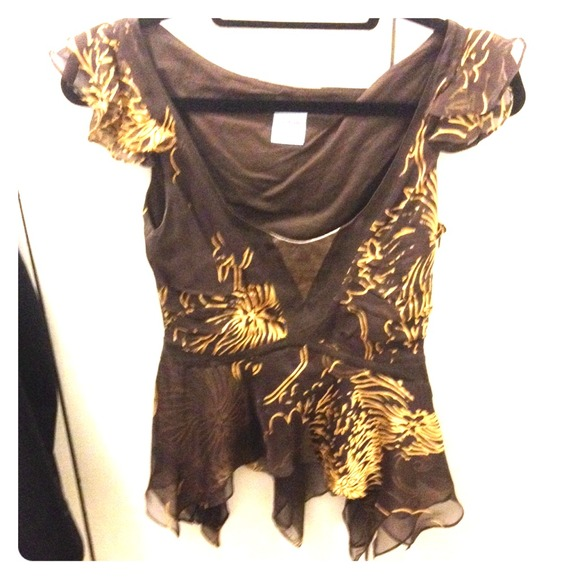 Sass Bide Tops Sass And Bide Brown And Gold Dressy Top Wleather Poshmark