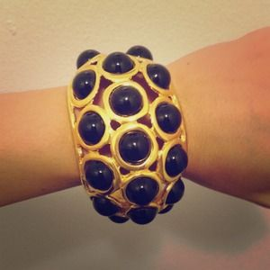 Kenneth jay lane black and gold show stopper cuff