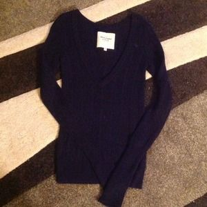 Abercrombie & Fitch Deep V-Neck Navy Sweater