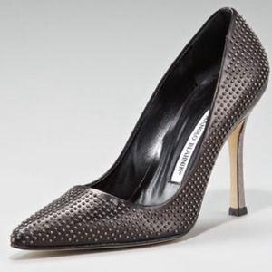Manolo Blahnik Studded Snake-heel Pump 40/10 NWT