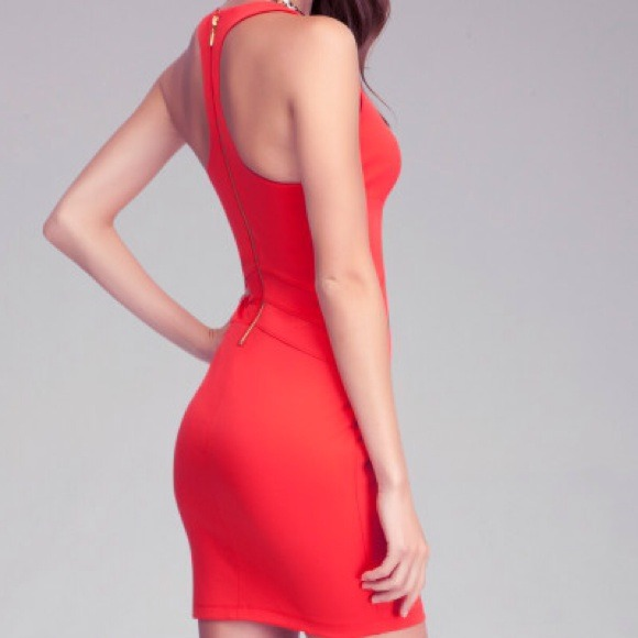 5ef24ff7d5211 Bebe Red Racerback Fitted Dress Red Bodycon Mini NWT