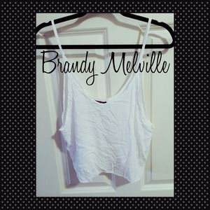Brandy Melville Casual White Knit crop tank