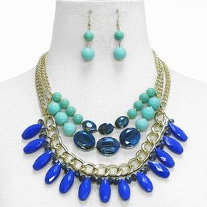 Gemstone Statement Necklace Set