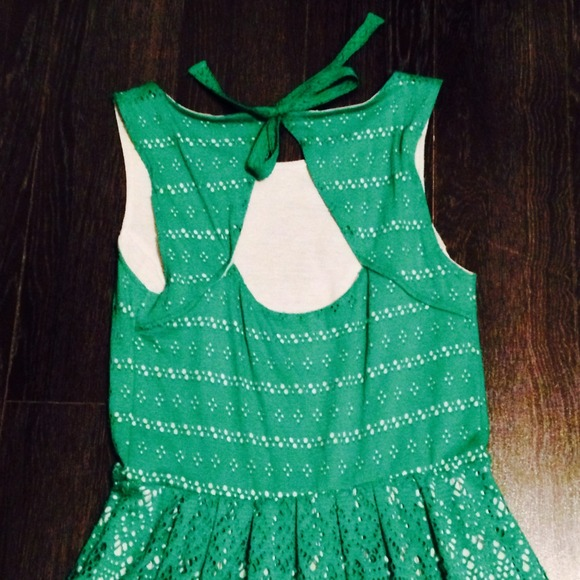 Anthropologie Dresses & Skirts - Anthropologie green eyelet dress 2