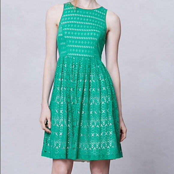 Anthropologie Dresses - Anthropologie green eyelet dress