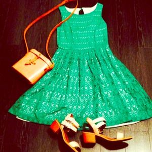 Anthropologie green eyelet dress