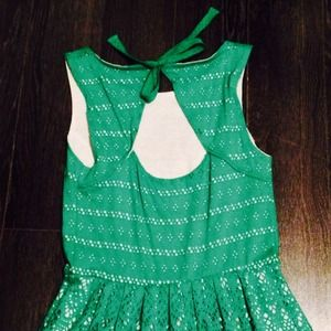 Anthropologie Dresses - Anthropologie green eyelet dress 2