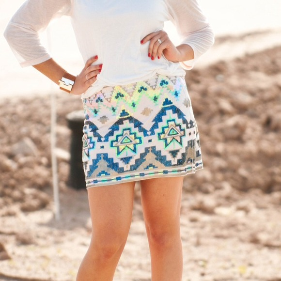 Express - Express Aztec Tribal Sequin Sequined Mini Skirt from ...