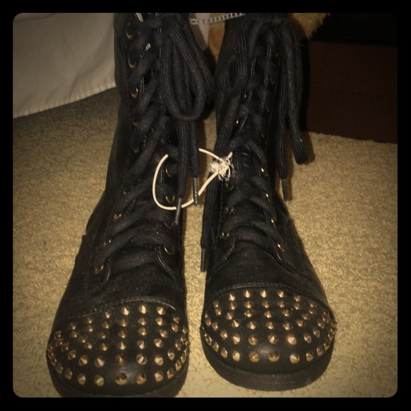 Gold Studded Boots Boots Black Gold Studded