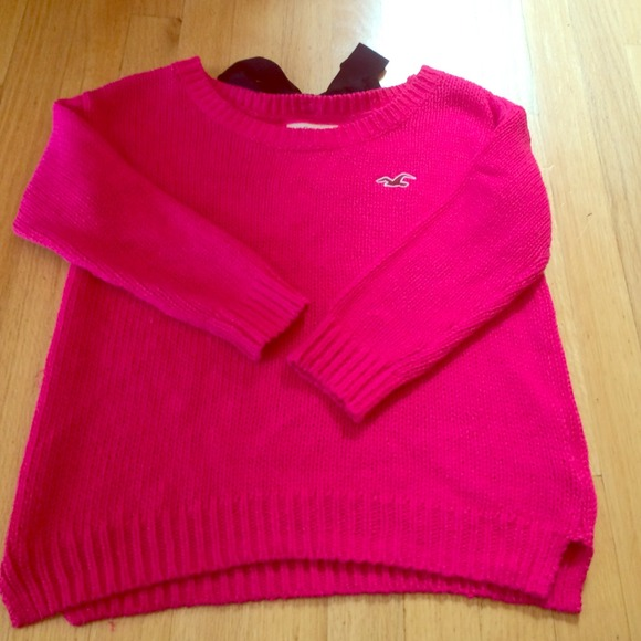 67% off Hollister Sweaters - hot pink loose knit sweater with bow ...