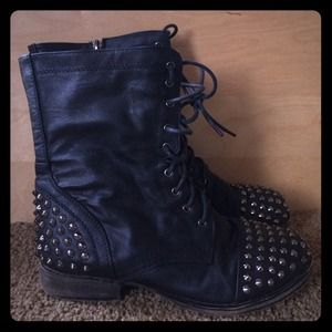 Boots - Spiked toe and heel black combat boots
