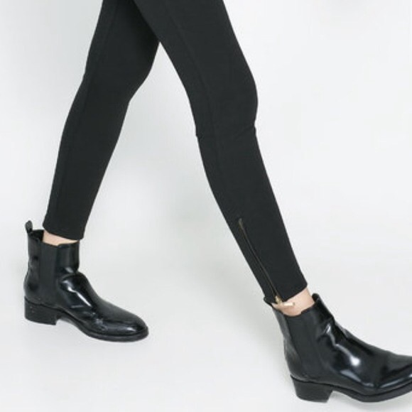 885bd941a656 On-trend black patent Zara flat chelsea boots