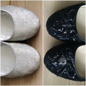 Shoes - Reserved: Set of two sparkly shoes and makeup bag!